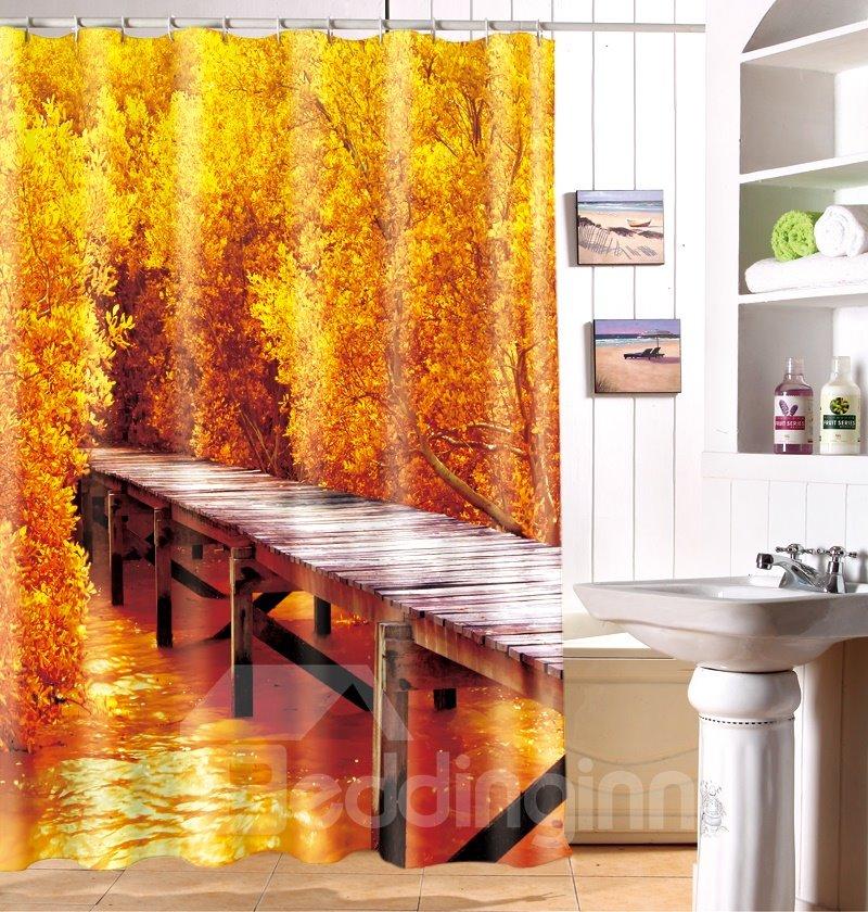 Dreamlike Fall Wooden Bridge Print Polyester Fabric 3D