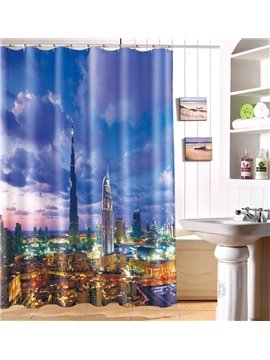 New Arrival Shiny Modern City Skyline 3D Shower Curtain