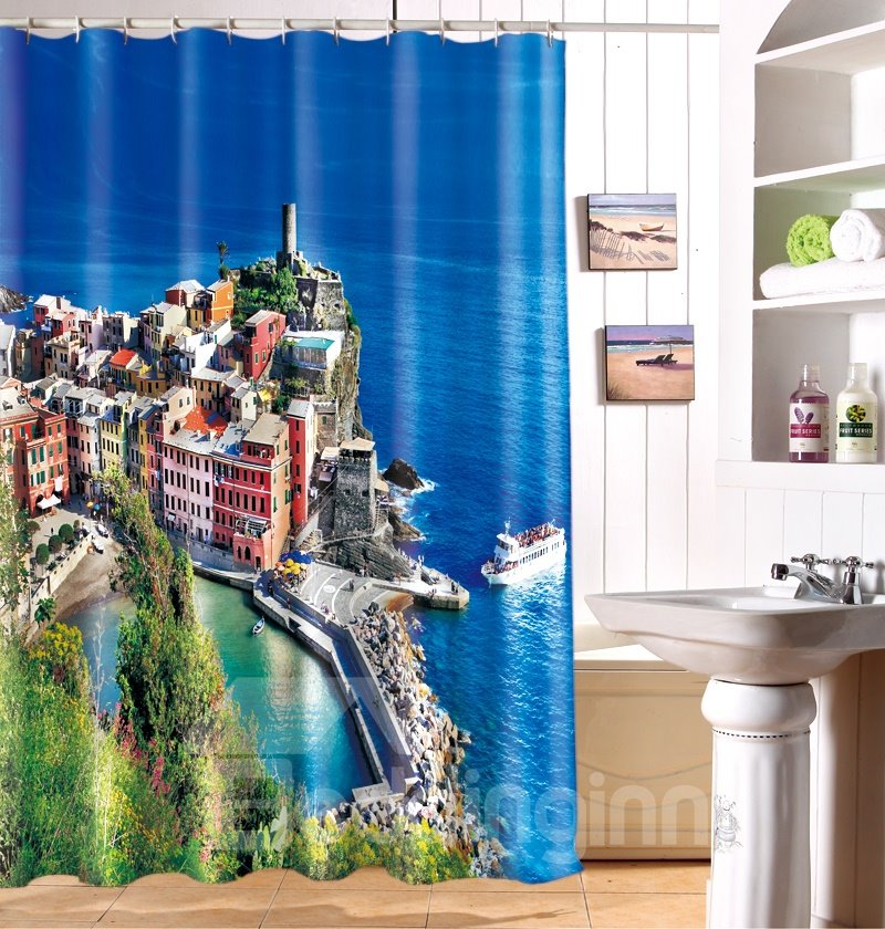 New style lakeside view nature inspired 3d shower curtain Nature inspired shower curtains