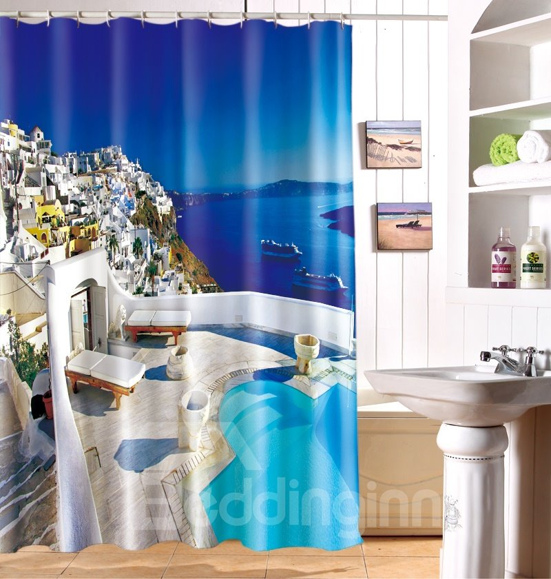 Idyllic Seaside Landscape Beach Chairs 100% Polyester 3D Shower Curtain