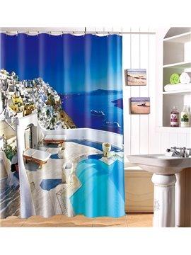 Idyllic Seaside Landscape Beach Chairs 100% Polyester 3D Shower Curtain