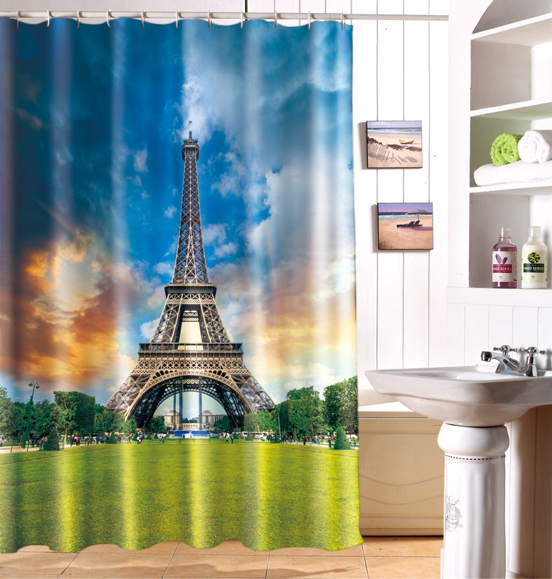 Fabulous Dreamy Eiffel Tower Polyester 3D Shower Curtain