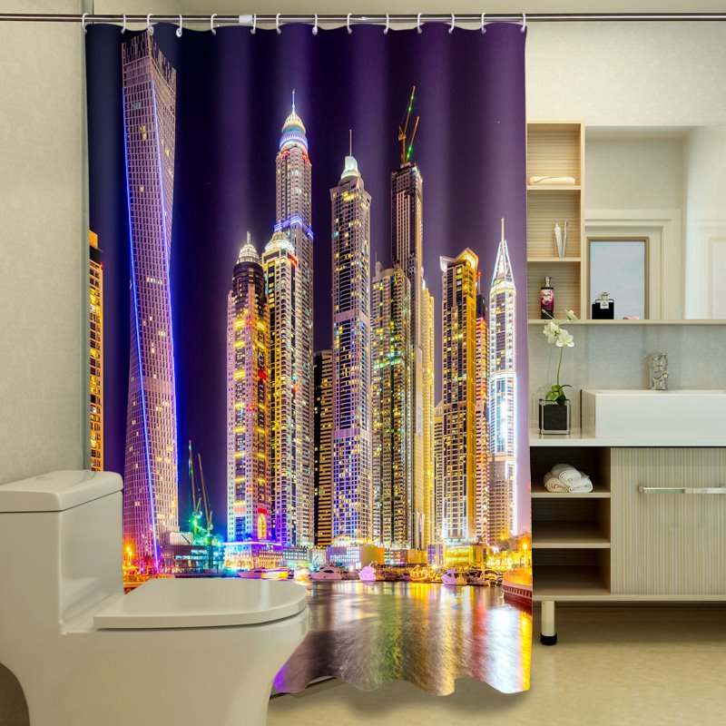 New Arrival Charming Cityscape Dacron 3D Shower Curtain
