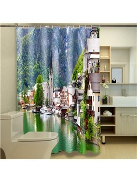 Peaceful Warm Natural Seaside Landscape Dacron 3D Shower Curtain