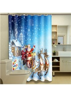 Dreamlike the Santa Claus Deer Printing Christmas Theme 3D Shower Curtain