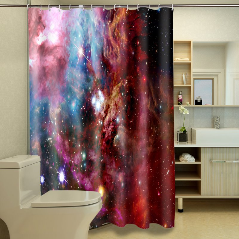 Fantasy starry sky pattern 100 polyester 3d shower for Fantasy shower curtains