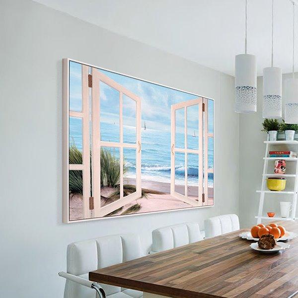 Fantastic 3D Window Beach View Framed 1-Panel Wall Art Print
