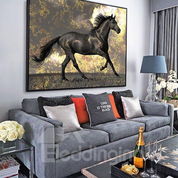 Amazing Black Horse Framed 1-Panel Wall Art Print