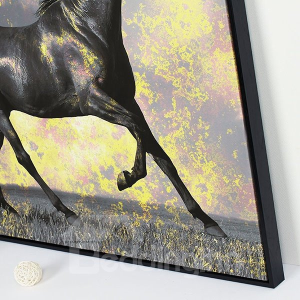 Wall Art Black Horse : Amazing black horse framed panel wall art print