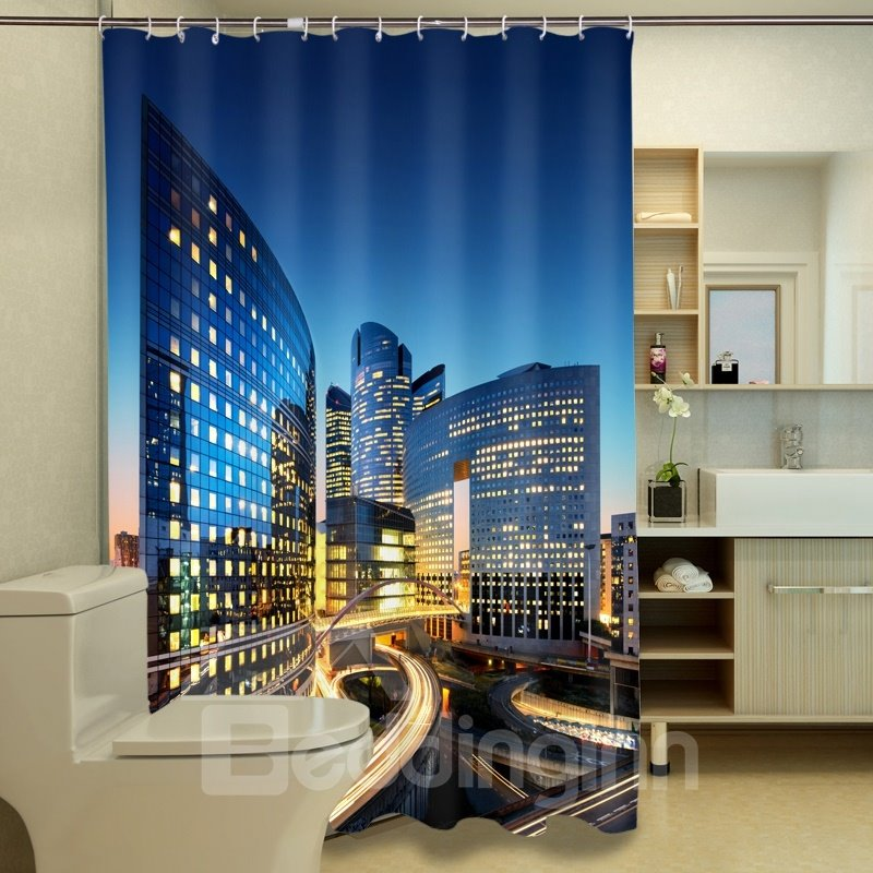 Special Design Modern City View 3D Shower Curtain