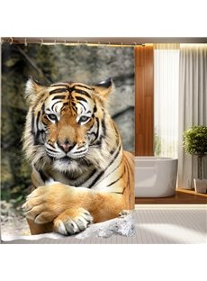 Superb Cool Tiger Polyester Fabric 3D Shower Curtain