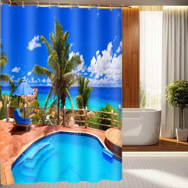 New arrival tranquil swimming pool pattern 3d shower Swimming pool shower curtain