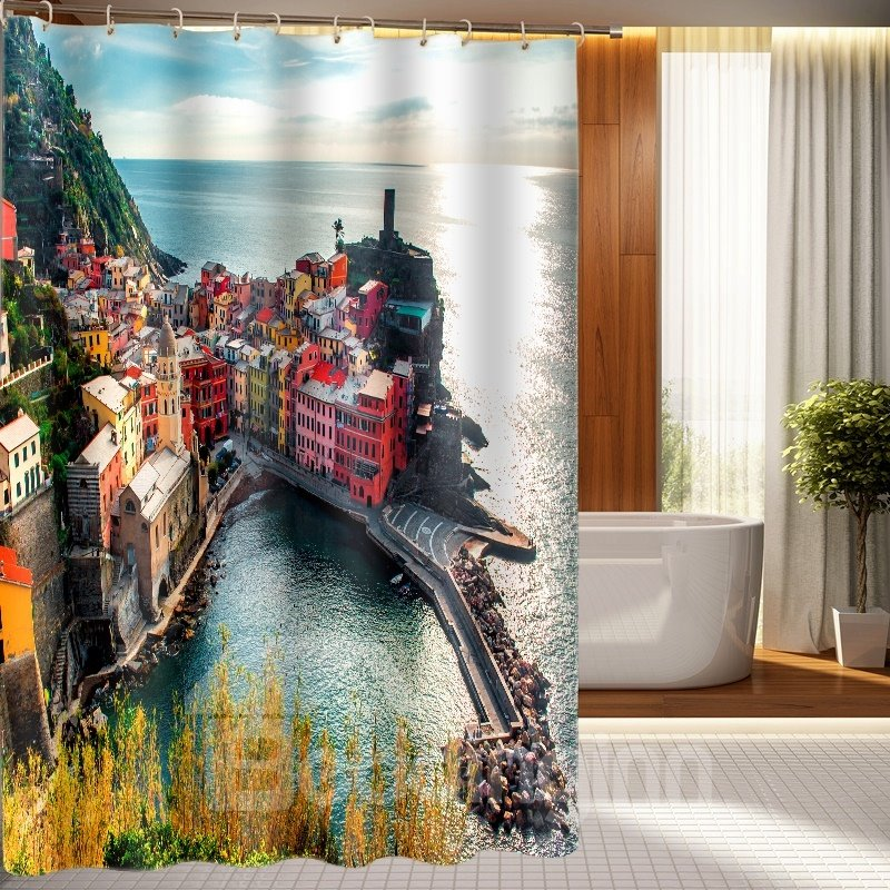 Unique style lakeside view nature inspired 3d shower Nature inspired shower curtains