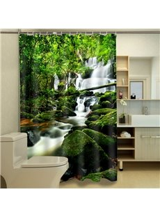 New Arrival Tranquil Pastoral Waterfall 3D Shower Curtain