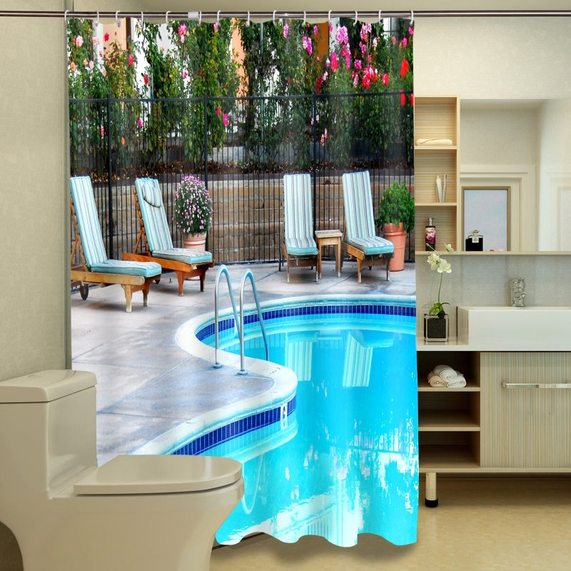High class graceful swimming pool 3d shower curtain Swimming pool shower curtain