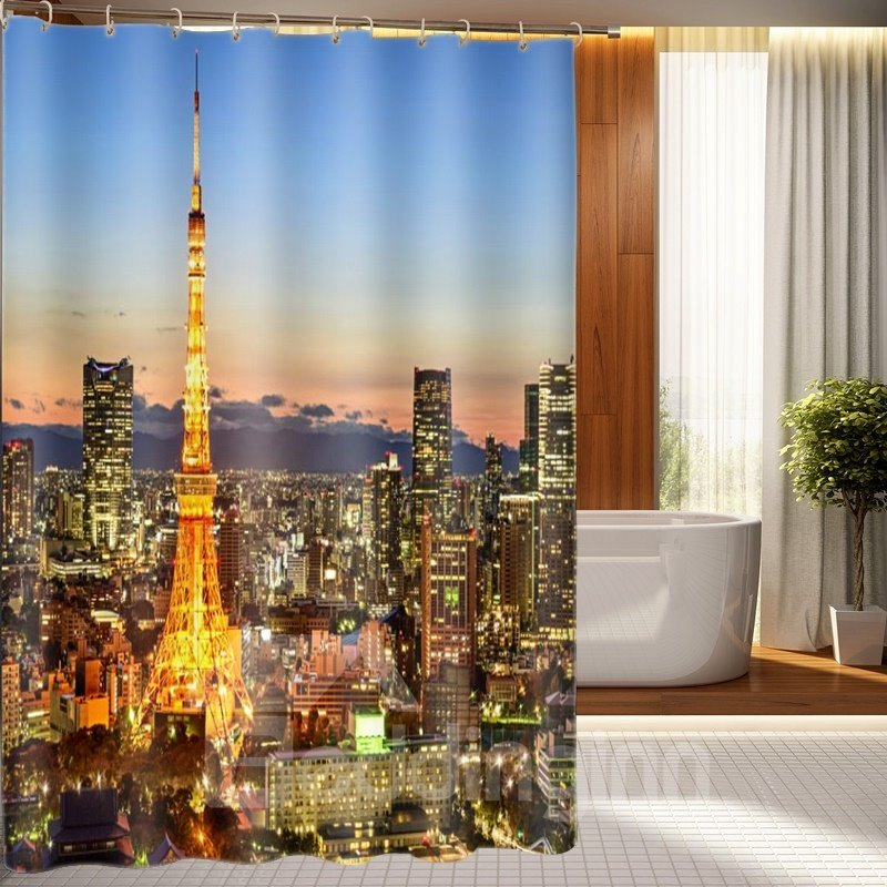 Romantic Paris Eiffel Tower 3D Shower Curtain