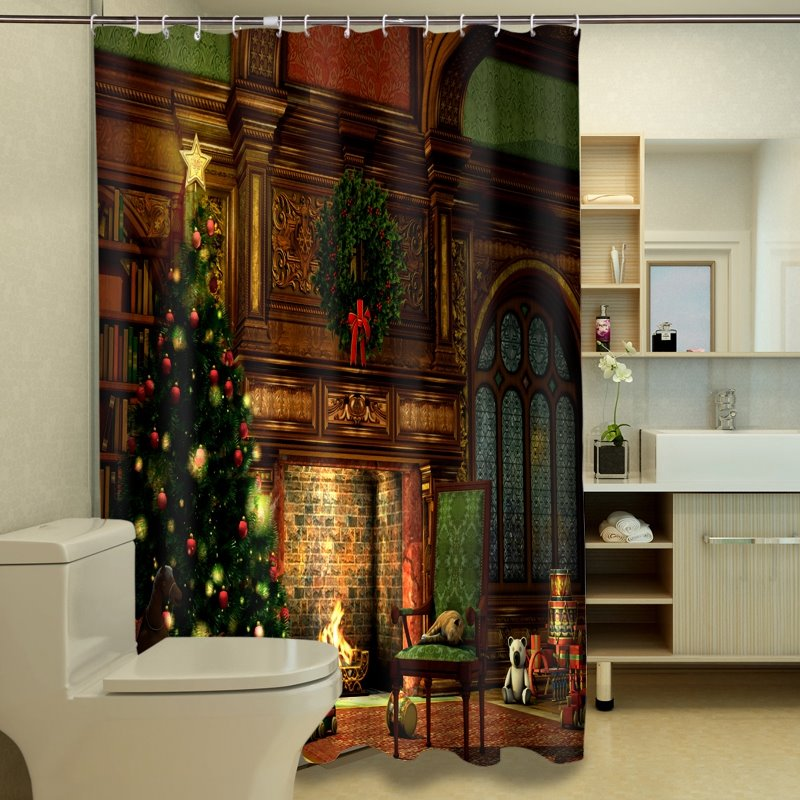 New Arrival Fantastic Christmas Tree Print 3D Shower Curtain