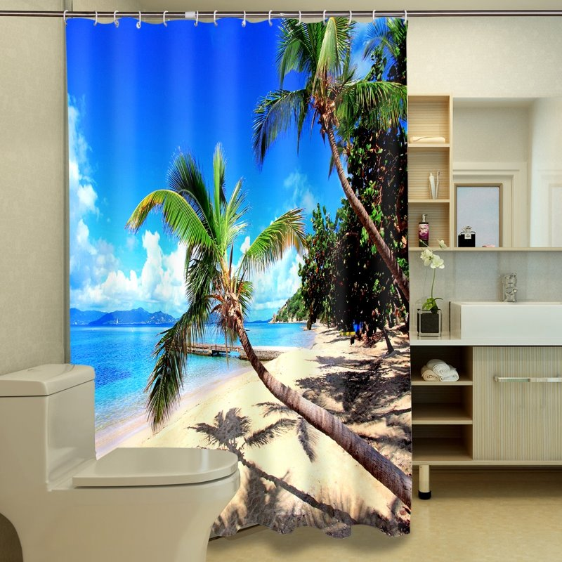 Beautiful Beach View Print Waterproof 3D Shower Curtain