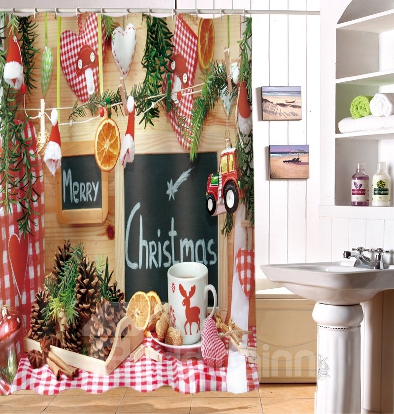 Personalized Merry Christmas Waterproof Polyester 3D Shower Curtain