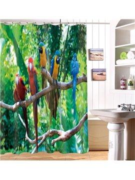 High Class 3D Vivid Parrot Print Waterproof Shower Curtain