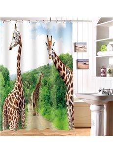 New Design Giraffe Pattern Polyester 3D Shower Curtain
