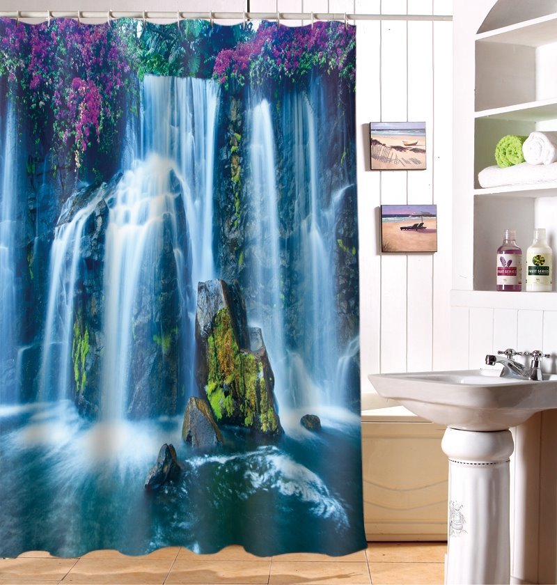 Magnificent Waterfall 100% Polyester 3D Shower Curtain
