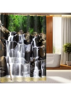 New Style Vivid Waterfall On Rock 3D Shower Curtain