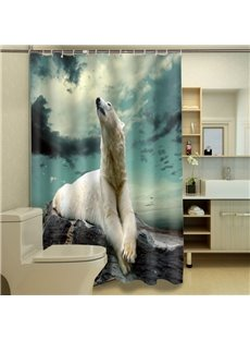 Special Design Relaxed White Polar Bear Print 3D Shower Curtain