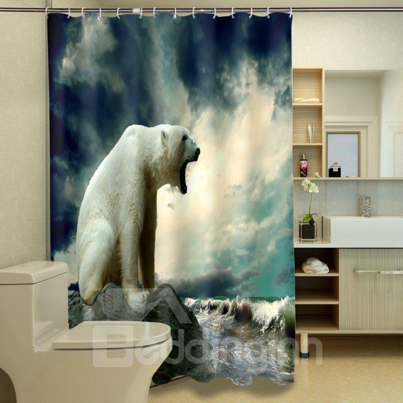 Chic Lazy Polar Bear Dacron 3d Shower Curtains
