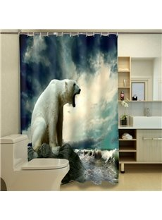 Chic Lazy Polar Bear Dacron 3D Shower Curtains