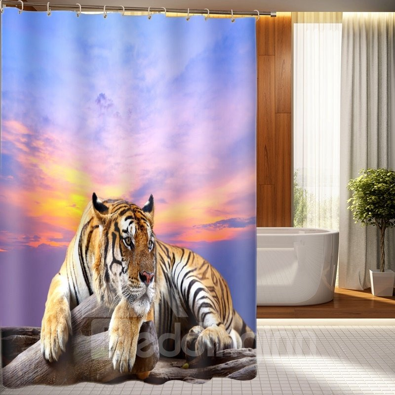 High Quality Majestic Lying Tiger 3D Shower Curtain