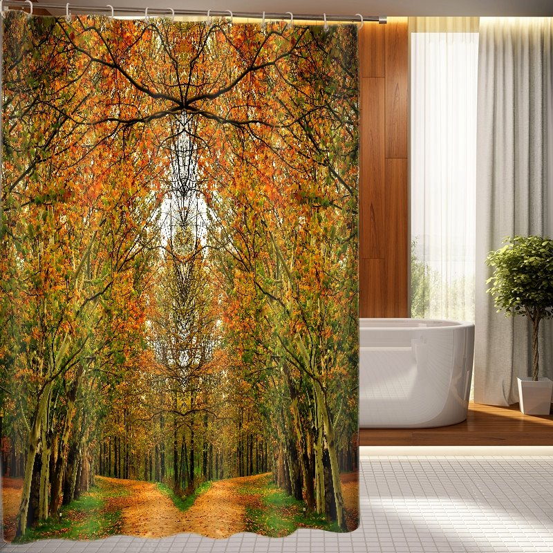 Charming Creative Design Forest Trail Dacron 3D Shower Curtain