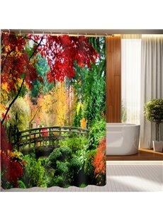 Unusual Bridge In Forest Print 3D Shower Curtain