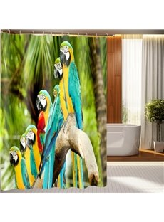 Fashionable Design Vivid Colorful Parrots 3D Shower Curtain