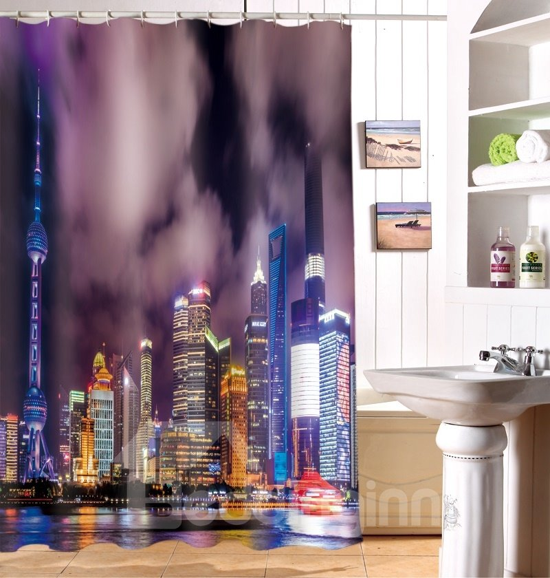 New Style Wonderful Cityscape Polyester 3D Shower Curtain