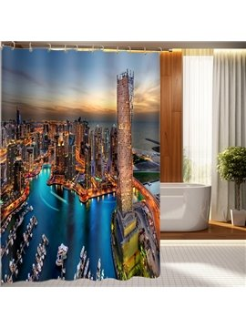 Colorful and Beautiful Night City Scenery 3D Shower Curtain