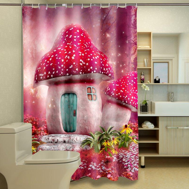 Distinctive Dreamy Strawberry House Pattern 3D Shower Curtain