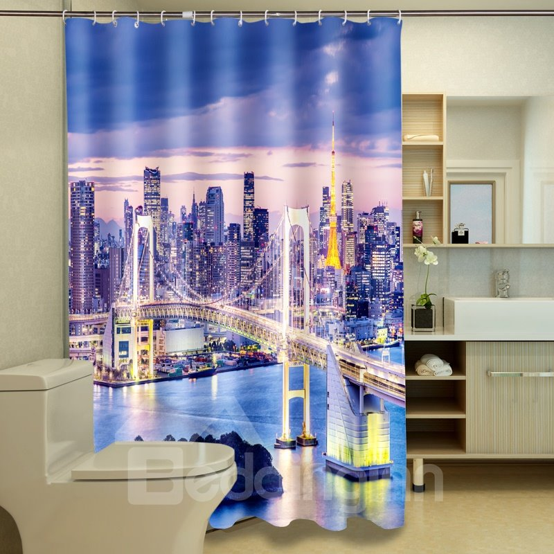 Superior Starry Golden Gate Bridge Night Landscape 3D Shower Curtain