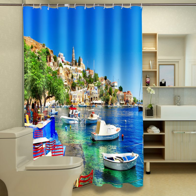 Graceful Sunny Harbor Landscape 3D Shower Curtain