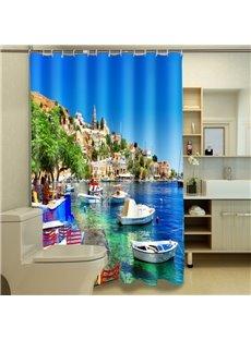 Graceful Sunny Harbor Landscape 3D Shower Curtain