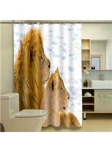 Excellent Romantic Lion Couple 3D Shower Curtain