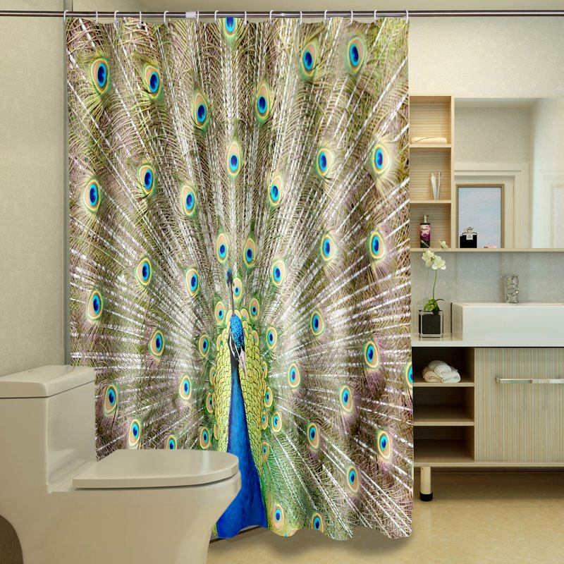 Wonderful Attractive Peacock Pattern 3D Shower Curtain