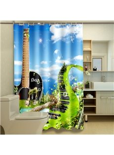 Novel Design Fanciful Piano Keyboard 3D Shower Curtain