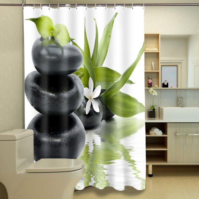 Fresh Style Superb Plant and Stone 3D Shower Curtain