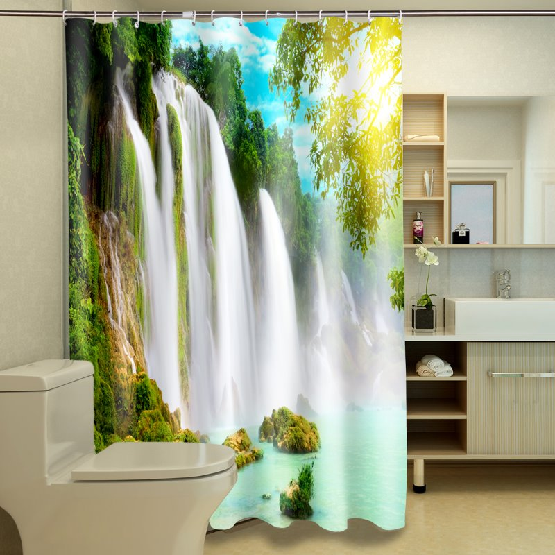 New Arrival Fascinating Waterfall Print Polyester 3D Shower Curtain