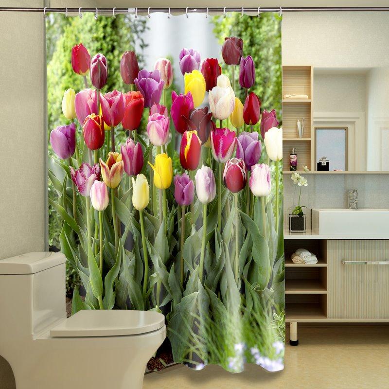 Gorgeous Romantic Colorful Tulip Dacron 3D Shower Curtain