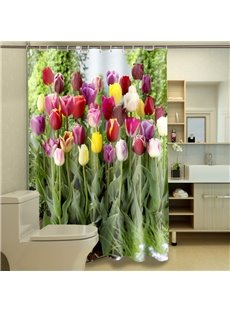 Gorgeous Romantic Colorful Tulip Dacron 3D Shower Curtain