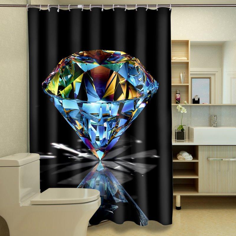 Glamorous Bright Diamond Polyester 3D Shower Curtain