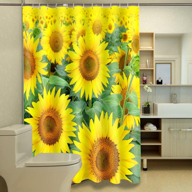 Artistic Romantic Sunflowers Dacron 3D Shower Curtain