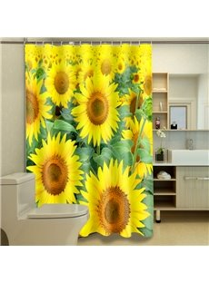 Artistic Romantic Sunflowers Dacron 3D Shower Curtain
